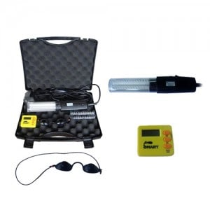 Hand held unit comes in a plastic carrying case